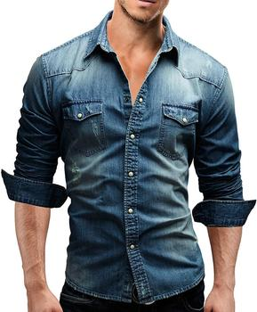 Europe Style Male Relaxed Long Sleeves Men Casual Denim Shirt with Double Pockets