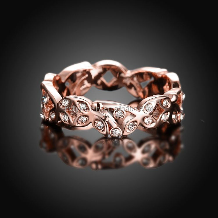 Cubic Zircon Crystal Elegant Women Twist Ring Rose Gold Plated Thin Midi Ring Jewelry