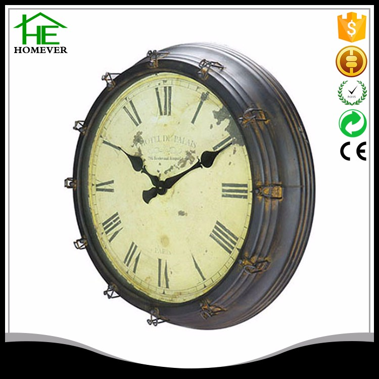 Brown retro distress large handmade clock handicraft