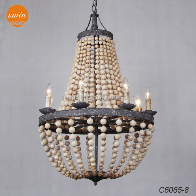 new european vintage wooden beads chandelier 8lights wrought iron crown pendant lighting with ul - Wood Bead Chandelier