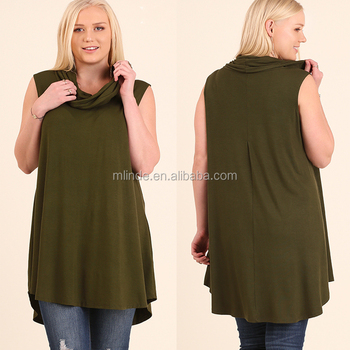 bd11a7e1322 Popular Golden Colour Blouse Designs xxxl Size Solid Knit Sleeveless  Stylish Turtle Neck Top Ladies Latest