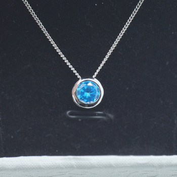 SZA-0001P-L Single One stone Round Blue Color Pendant Necklace Jewelry bf377b74a3e