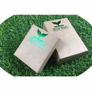 Custom design die cutting recycle package kraft paper soap box with hot stamping