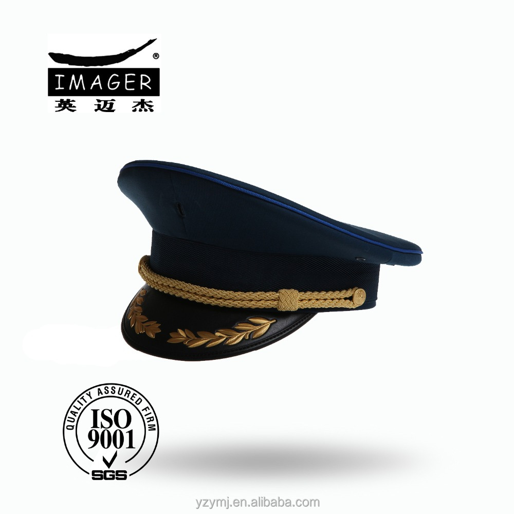 Plain Style Customized Black Air Defence Forces Major Hat with Gold Strap and Embroidery