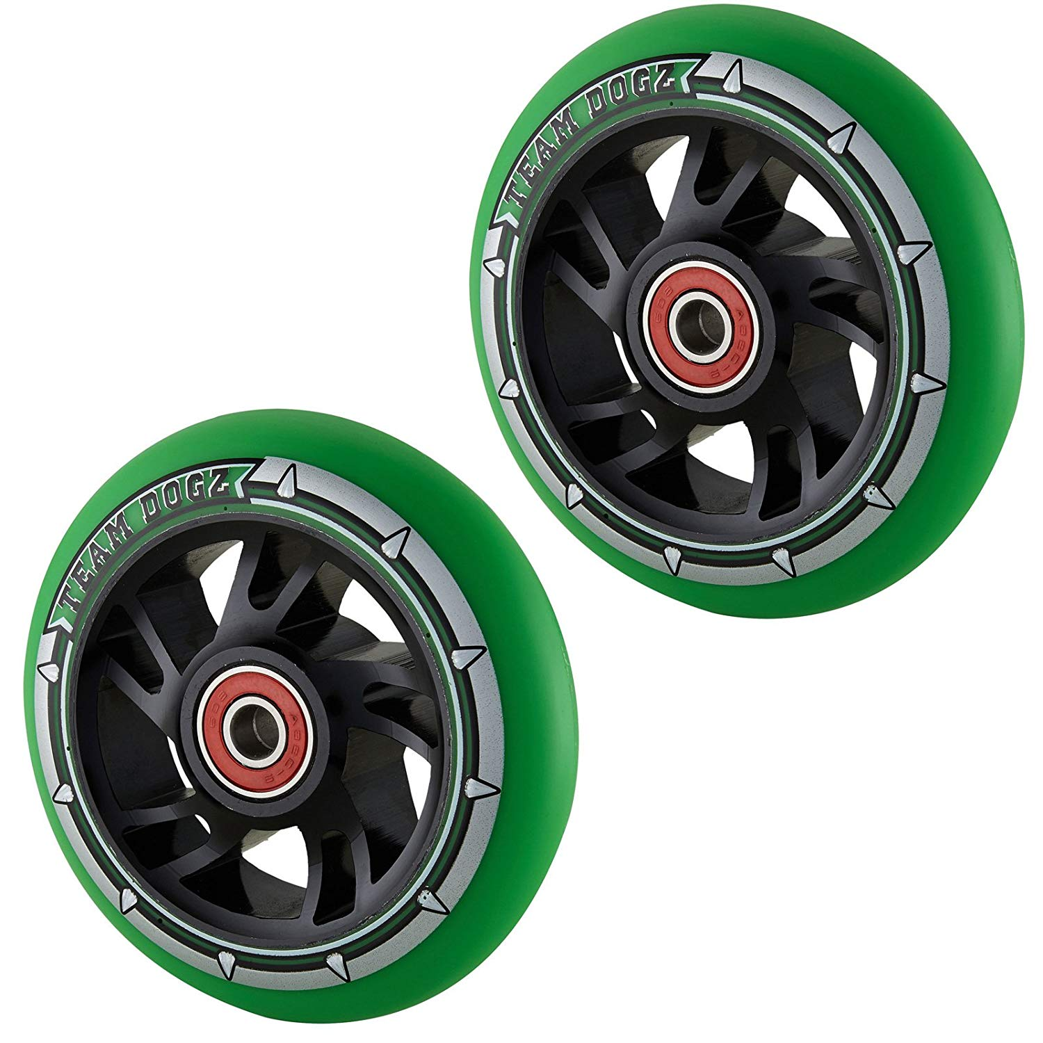 Team Dogz 100mm Swirl Scooter Wheels - Black Cores with Neon Green Tyres (Pair)