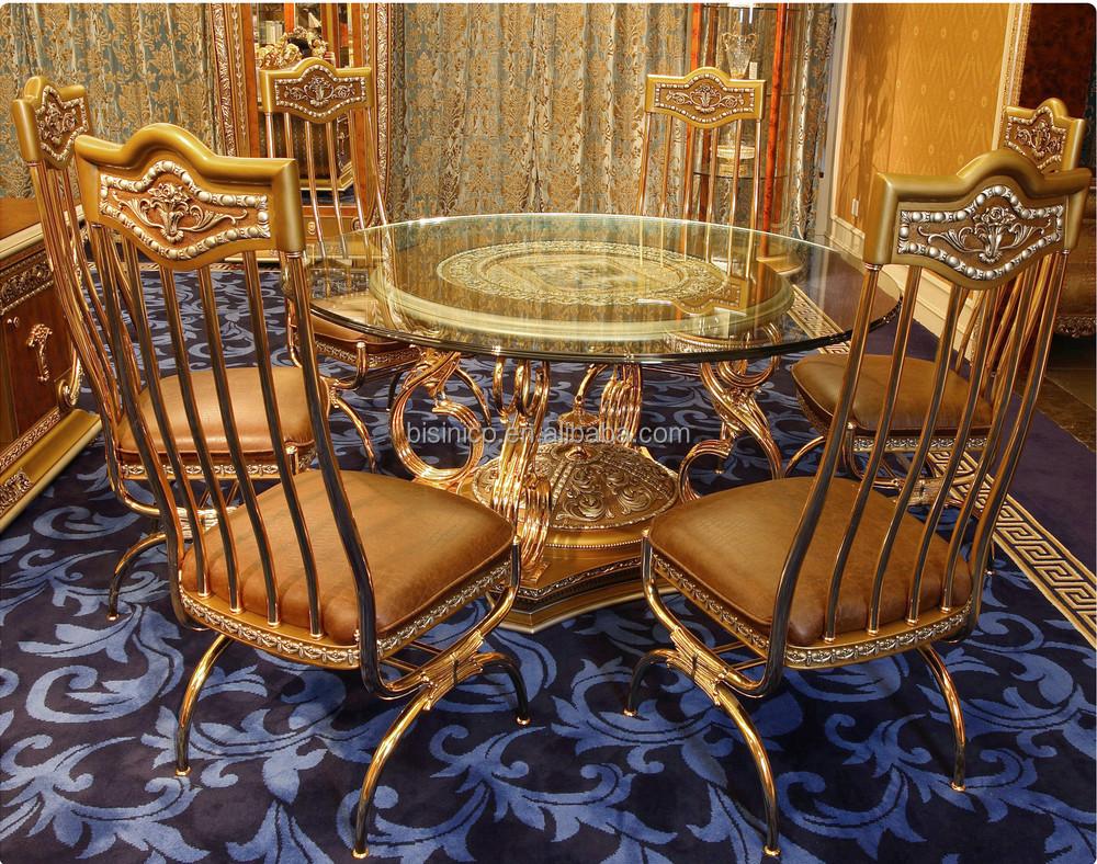 Luxe franse barok stijl eetkamer sets antieke gouden messing metalen voet ronde eettafel met - Stoel dineren baroque ...