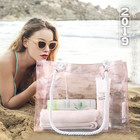 New Arrival Fashion Trending Women Summer Plastic Transparent Rope Handle Beach Tote Bag