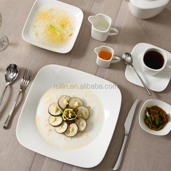 Hot sale hotel&restaurant square white ceramic plates,chaozhou crockery Square plates, Catering porcelain squareplates wholesale