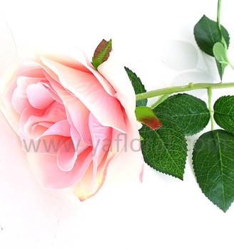 long stem artificial fake plastic flower single pink rose for sale