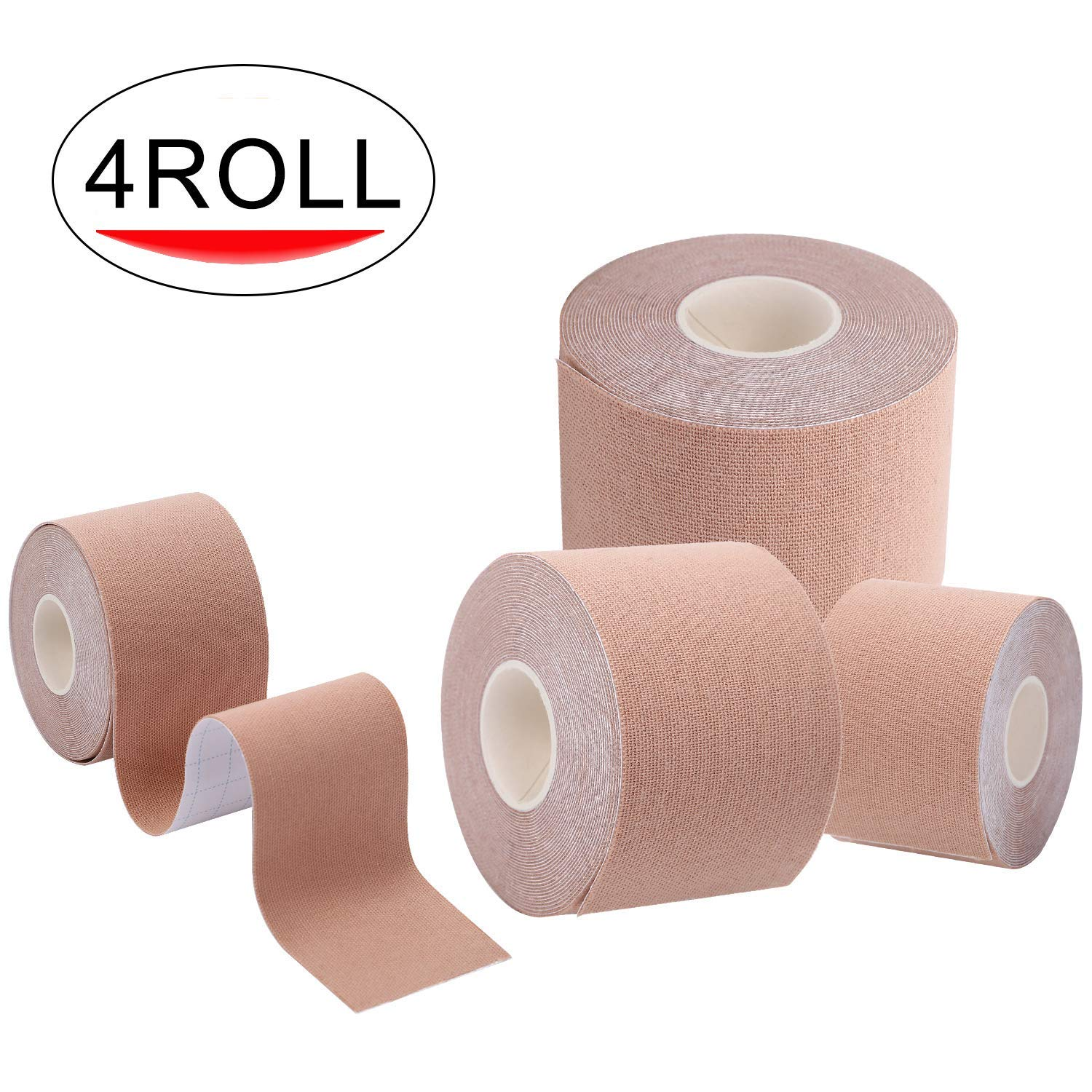 """HQD Kinesiology Physiotherapy Sports Tape (4 Rolls Pack) Uncut 2"""" x 16.4"""" Therapeutic Sports Tape for Elbow and Knee Shoulder Elastic Stretch, Breathable, Relief Muscle, Waterproof"""