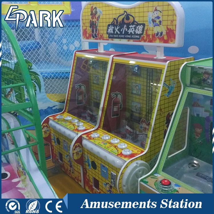 coin operated hitting lights button prize game machine small fire fighting hero hammer hit ticket redemption game