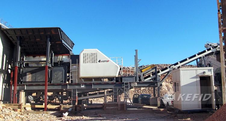 Portátil trituradora tipo cantera de piedra aplicación móvil planta de trituración para arena