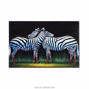 Home Decoration Accessories Kids Animals Canvas Zebra Oil Paintings Art