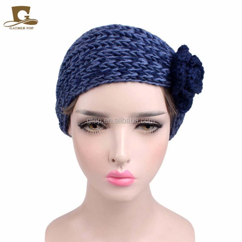 Mujeres Flor del ganchillo hizo punto la venda del turbante cabeza ...