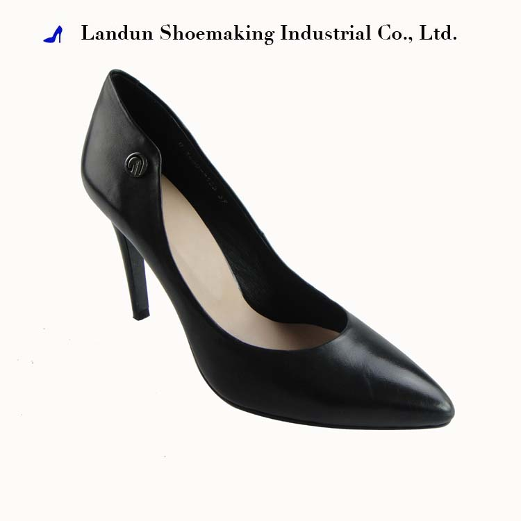 2017 Latest design fashion lady slim heel lesther shoes
