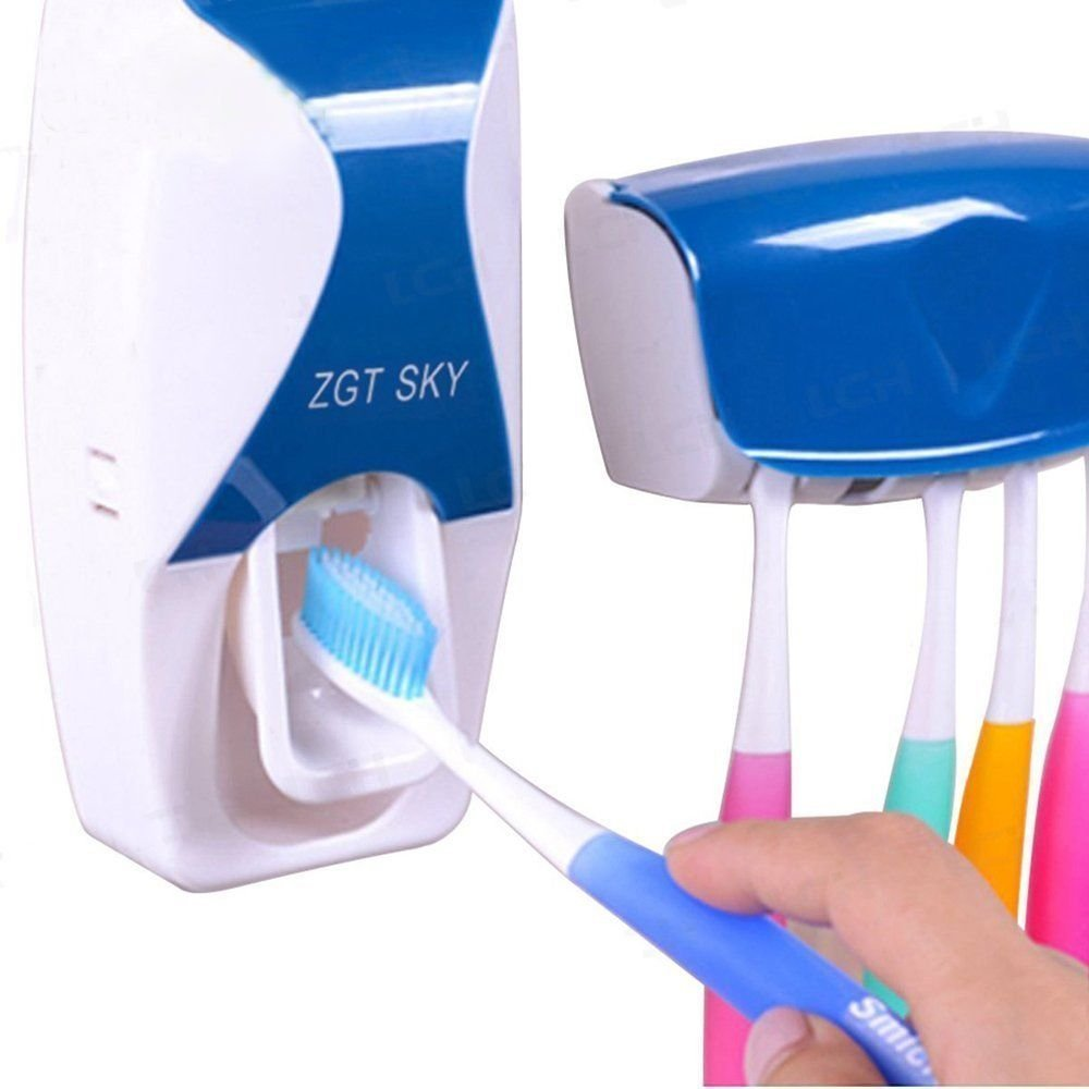 LC Home Wall Mounted Automatic Toothpaste Dispenser, Hands Free Toothpaste Squeezer Pumpr, Toothbrush Holder Organizer Set, Imported Bathroom Accessories Sets, Blue & White