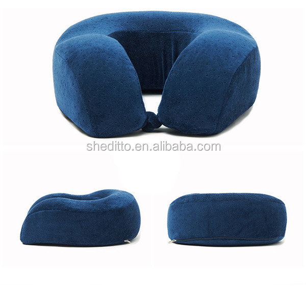 Solid color plush mesh fabric outcover rebound memory foam neck well support u shape travel pillow