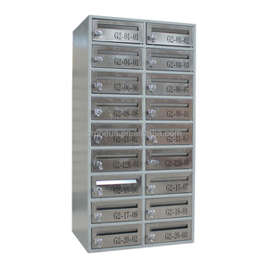 Wall Mounted Stainless Steel Mailbox Letter Storage Box 18 Door Post Office Service Design Steel Mailbox