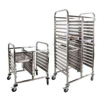 Kitchen Restaurant Equipment Baking Stainless Steel Serving Bakery Bread Tray Food Cart Pan Rack Dish Collecting Service Trolley