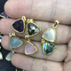 JF7279 2019 Dainty Small Faceted Natural Gem stone Triangle Pendants,Gold Bezel Semiprecious Stone Trillion Pendants