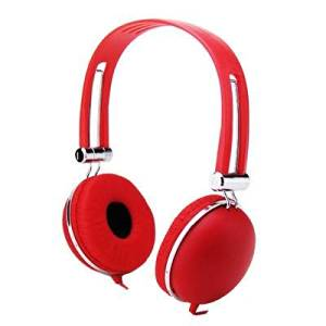 Premium Over-Head Stereo Earphones Headset Headphones w/ Microphone for Barnes & Noble NOOK HD+/ HD/ Tablet, Samsung Galaxy Tab 4 NOOK/ NOOK GlowLight (Red) + MYNETDEALS Stylus