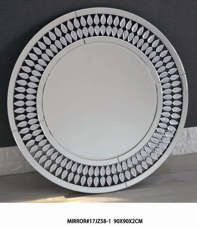 Hot sale round unique silver grass wall mirror furniture for home decoration