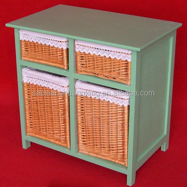 mobili da cucina in legno cestino di vimini cassetti armadietto di ...