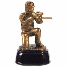 A handmade bronze statue of a shooting athlete's sport statue