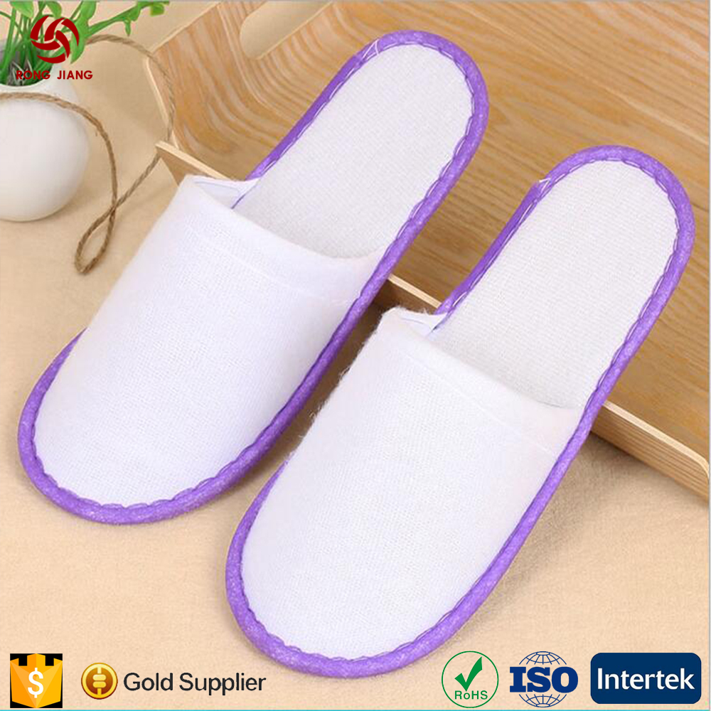 2017 new design luxury hotel white non-disposable slippers