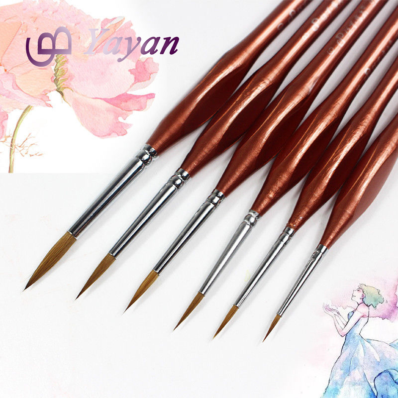 Profesional 6 pcs/set Kolinsky Sable Nail Art Cat Brushes untuk Detail Miniatur