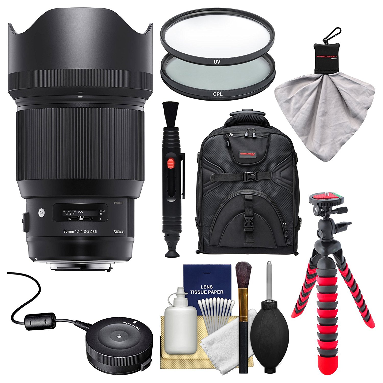 Sigma 85mm f/1.4 ART DG HSM Lens with USB Dock + Backpack + Flex Tripod + 2 (UV/CPL) Filters + Kit for Canon EOS Digital SLR Cameras