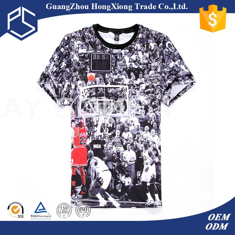 Guangzhou Manufacturer Cheap Men Custom White Cotton Strip Print T ...