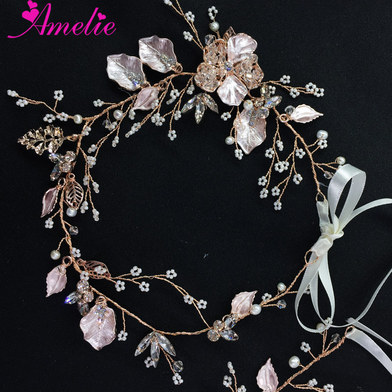 Mini beads Hand Wrapped Crystal Wedding Headband Rose Gold Headpieces