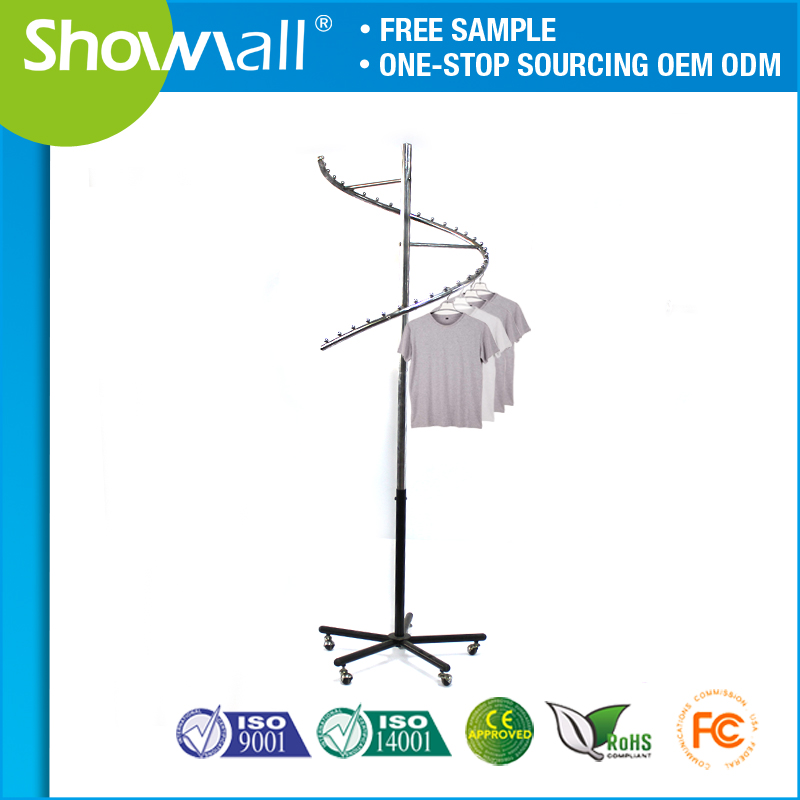 Commercial rolling garment shop display rack with wheels