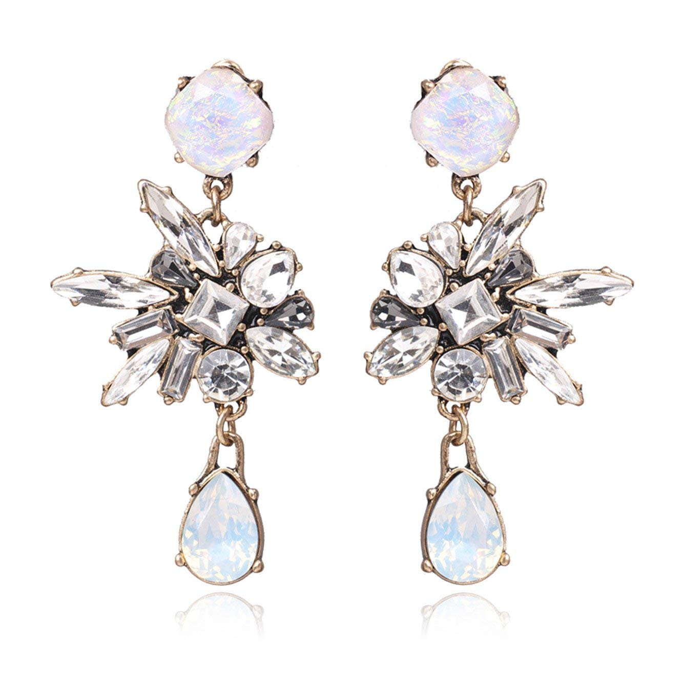 cf6fbce7b7 Get Quotations · Unicra Vintage Long Crystal Dangle Earrings Studs Wedding Bridal  Chandelier Earrings for Women and Girls