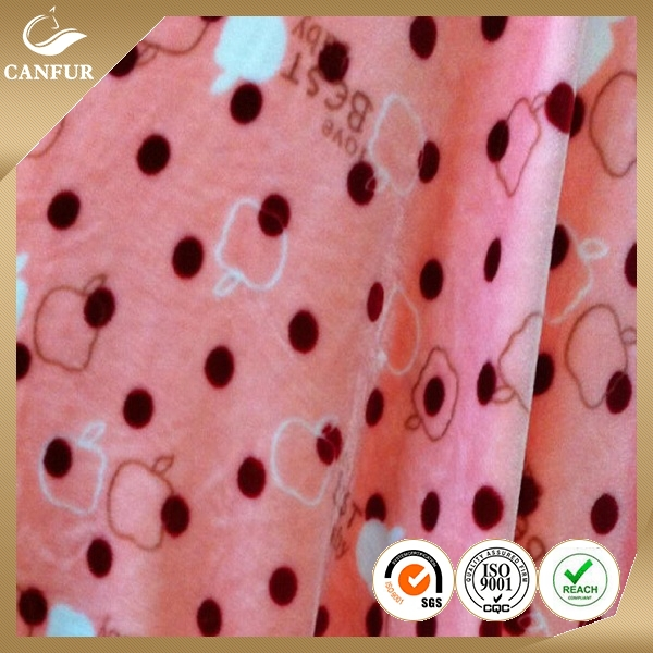 100% polyester Printed Coral Fleece, Warp Knitted Fleece, Blanket Fabric