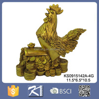 New year gift polyresin roosters chinese zodiac animal figurines