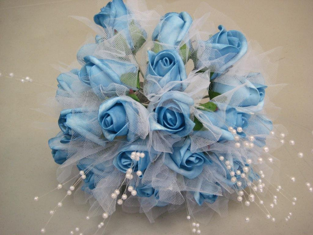 Buy blue turquoise rose buds with pearls bouquet artificial foam blue turquoise rose buds with pearls bouquet artificial foam flower bush 695 tq izmirmasajfo