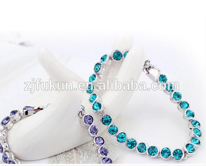 unique fancy white gold plated turquoise CZ tennis bracelet jewellery