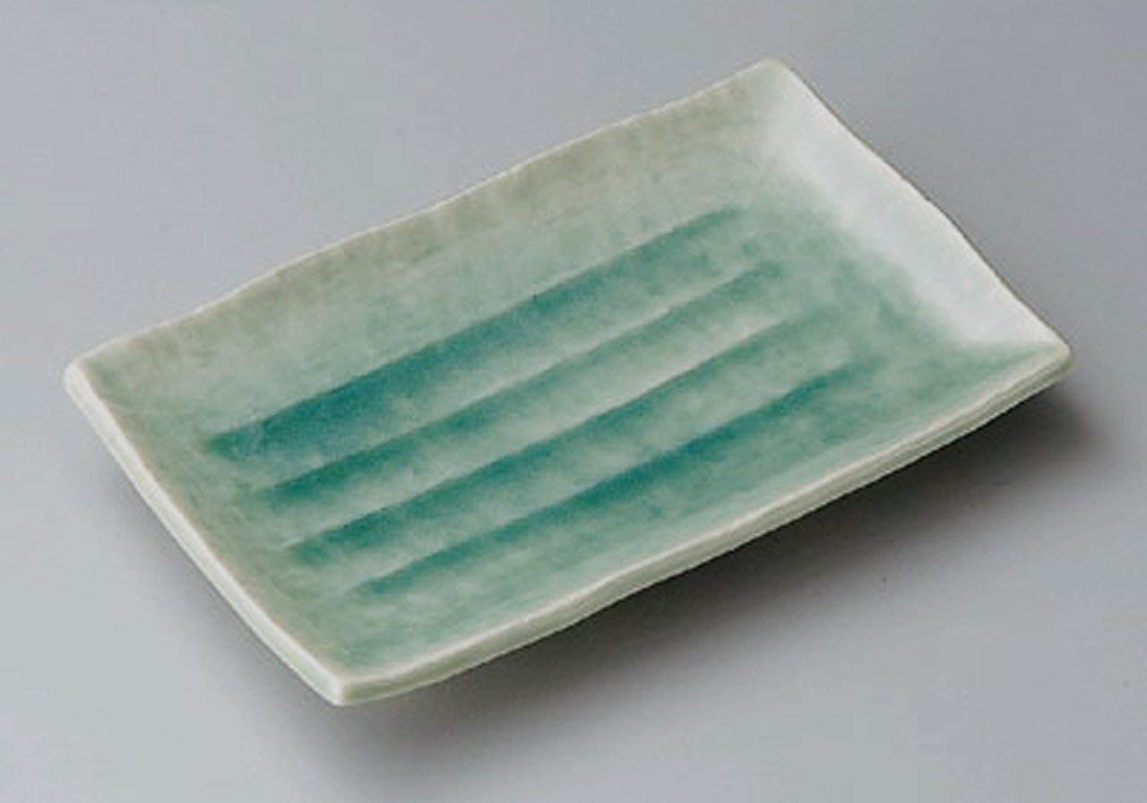BANKO-YAKI-BLUE Jiki Japanese traditional Porcelain Rectangle Plate