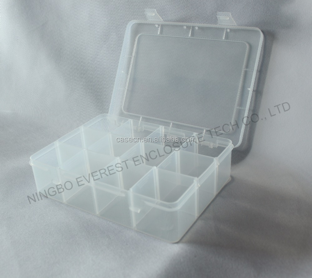 12 Compartment Clear Plastic Storage Box With Removable Dividers