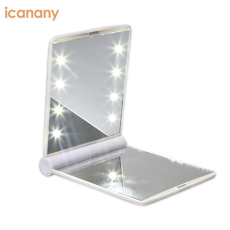 Learned Hot Portable Led Mirror Makeup Cosmetic 8 Led Lights Lamps Folding Compact Pocket Mirror Rapid Heat Dissipation Makeup Mirrors Beauty & Health