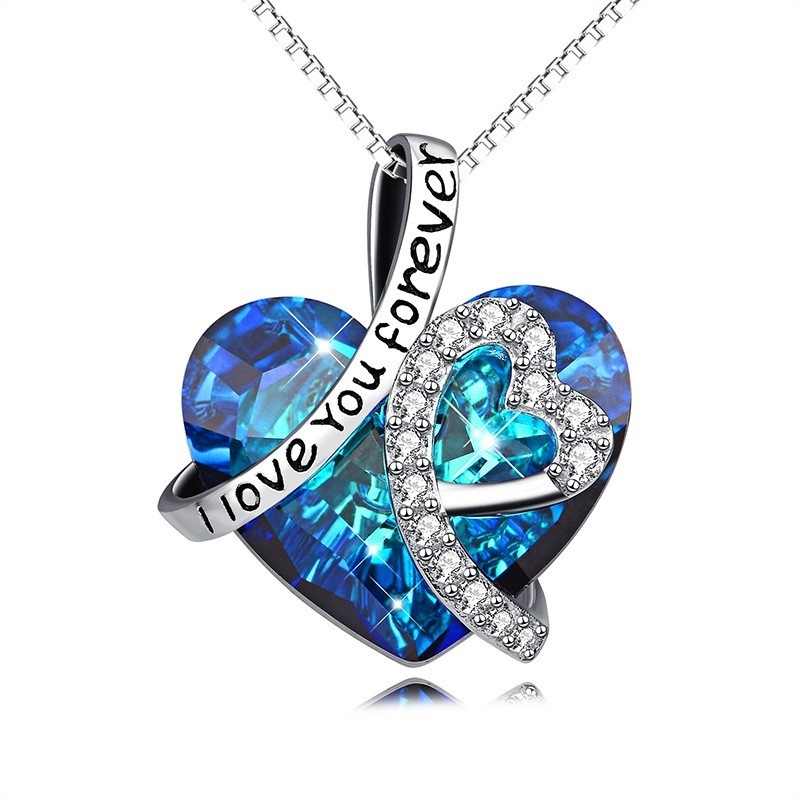 925 Sterling <strong>Silver</strong>&quot; I Love You Forever &quot;Crystal Heart Pendant Necklaces for Woman Blue Crystal customizable necklace
