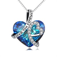 "925 Sterling Silver"" I Love You Forever ""Crystal Heart Pendant Necklaces for Woman Blue Crystal customizable necklace"