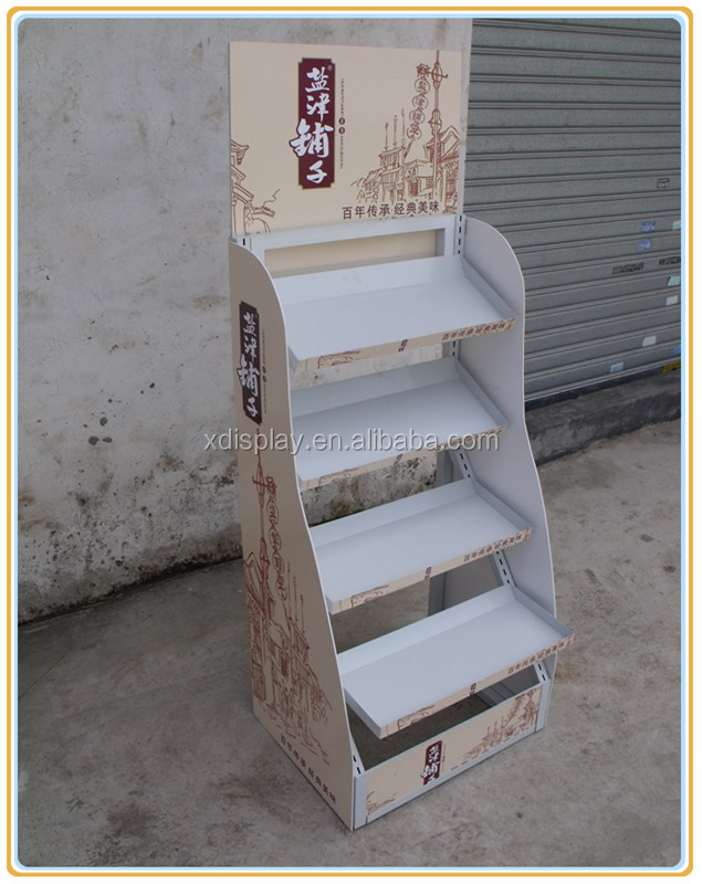 Custom store 4 tier floor standing snack wood display/wood pop display shelf for supermarket