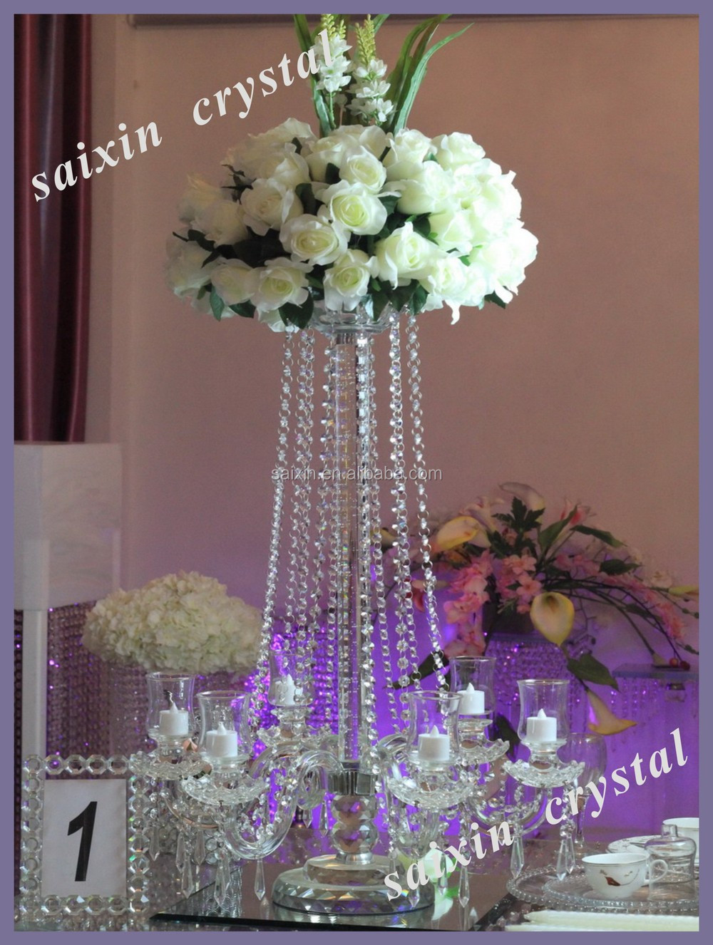 Crystal candelabra wedding centerpiece and flower stand for Buy wedding centerpieces