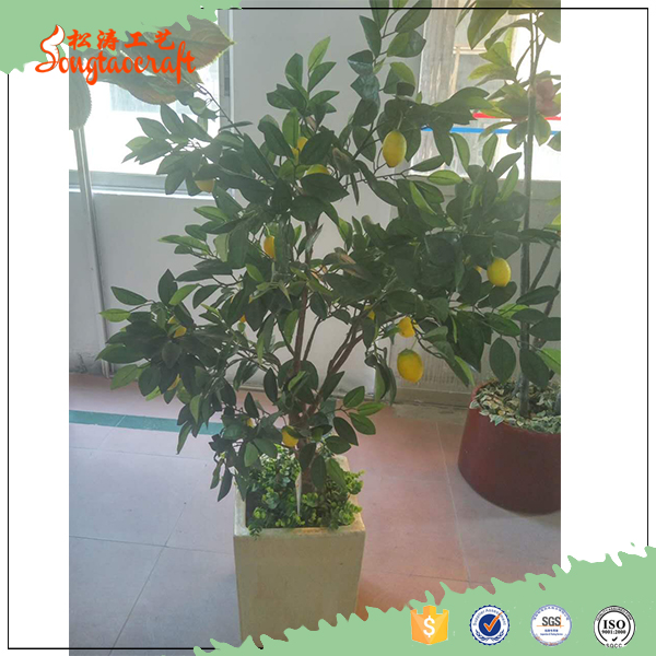 customized size 1.5m plastic leaves artificial lemon tree for home decoration