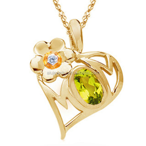 9k Gold Mom Pendant with birthstone