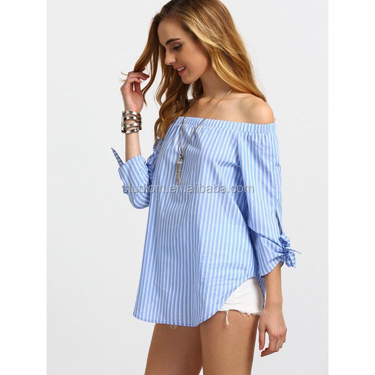 58a4ffaf0 Alibaba Mujeres De Moda Diseño De Hombro Tie Brazalete Blusa Tops ...