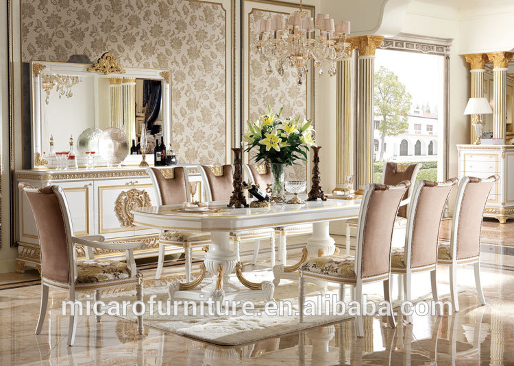 New Products Antique Italian Wood Carving Oval Dining Table Set With White And Gold View Micaro Product